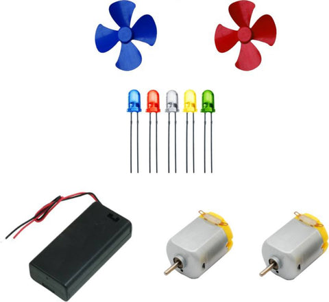 2Pcs 3V to 9V DC Flat Small Size Toy Motor and Multi Color 2 Pcs Toy Motor Fan + 5 PC LED + AA 2 Cell Battery Holder with On Off Switch  (Multicolor) - Robodo