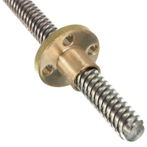 300mm Trapezoidal Lead Screw 8mm Thread 2mm Pitch Lead Screw with Copper Nut - Robodo