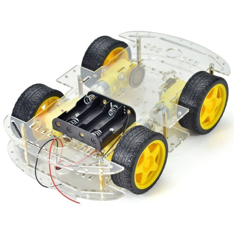 4-wheel Robot Smart Car Chassis Kits Car Model with Speed Encoder for Arduino - Robodo