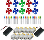 10Pcs 3V to 9V DC Flat Small Size Toy Motor + Multi Color 10 Pcs Toy Motor Fan + 20 PC LED + 2 Pc AA 2 Cell Battery Holder with On Off Switch