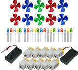 10Pcs 3V to 9V DC Flat Small Size Toy Motor + Multi Color 10 Pcs Toy Motor Fan + 20 PC LED + 2 Pc AA 2 Cell Battery Holder with On Off Switch - Robodo