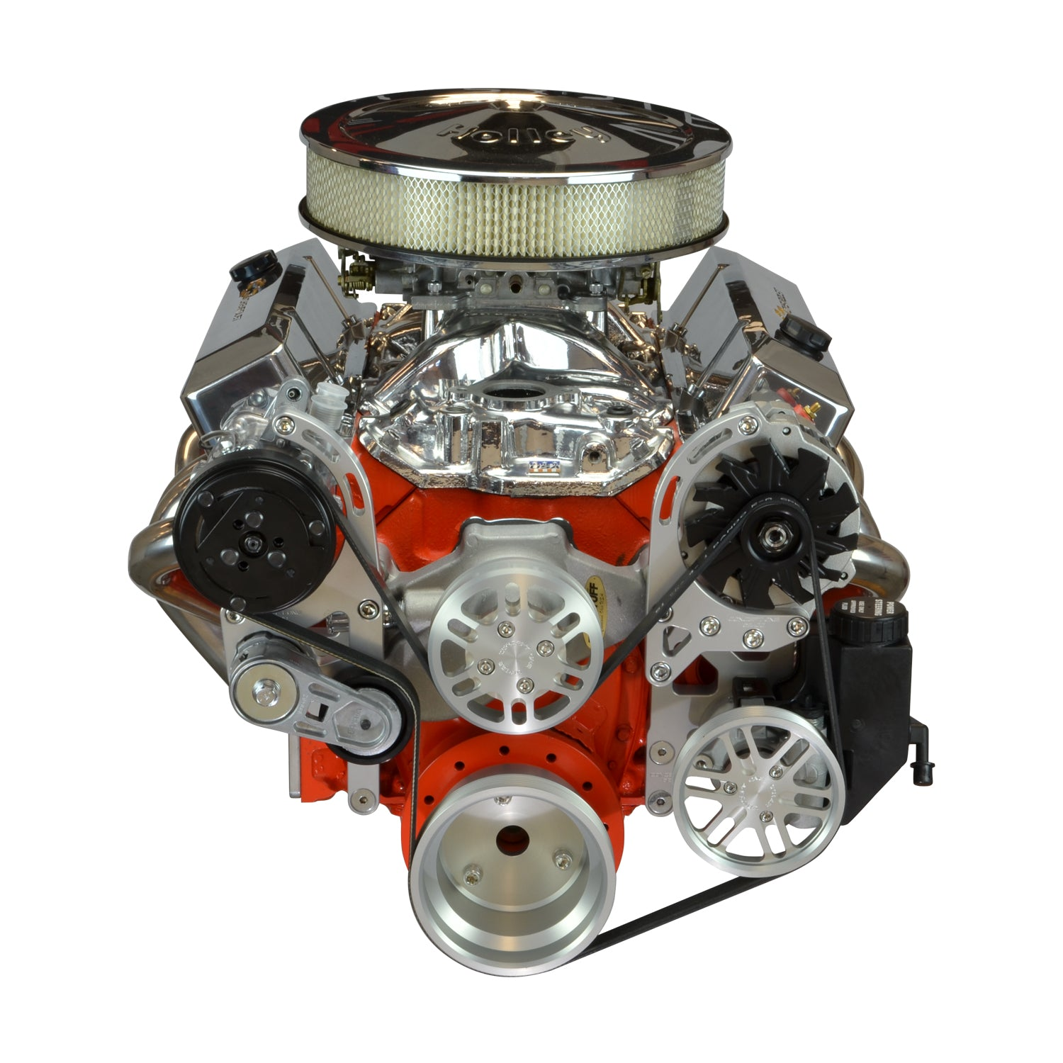 Concept One Pulley Systems: Chevy Small Block Driver Series Kit with Alternator, A/C and Power Steering, front view anodized clear