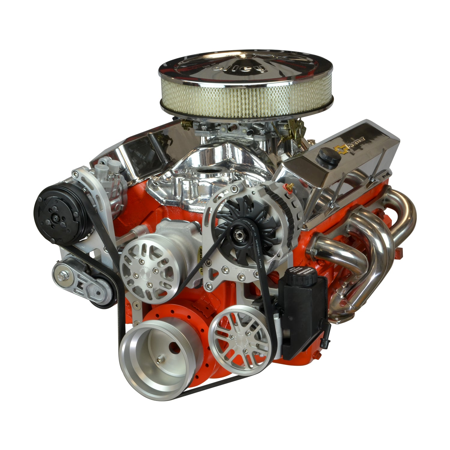 Concept One Pulley Systems: Chevy Small Block Driver Series Kit with Alternator, A/C and Power Steering, front view angle anodized clear