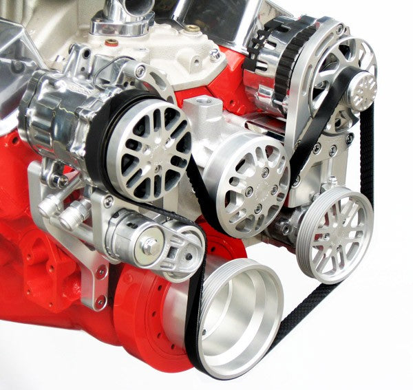 Concept One Pulley Systems: Chevy Big Block Victory Series Kit with Alternator, A/C and Power Steering, close up