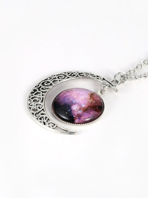 Star Sky Round & Moon Pendant Necklace - MOZLLE