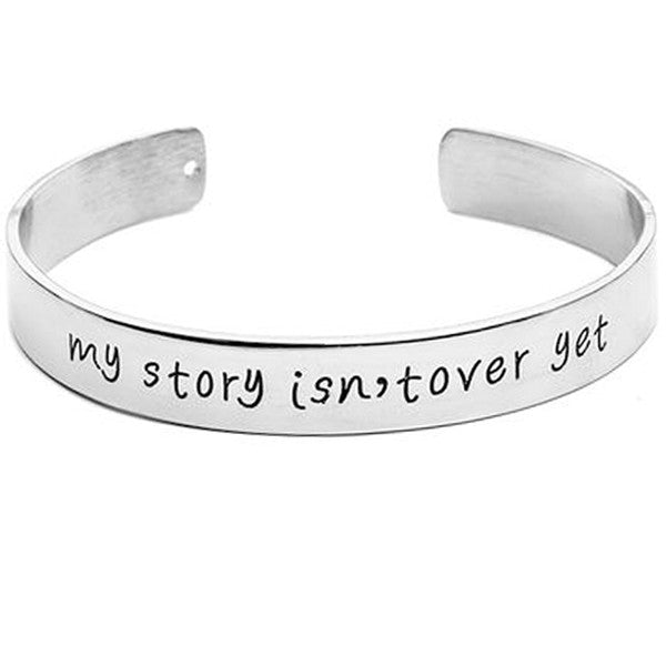 My Story Isn't  Over Yet Engraved Bangle - MOZLLE
