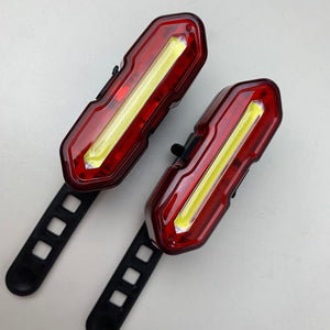 USB Rechargeable LED Light, Front & Rear, Fits E-board Bikes, Helmets. Red + White