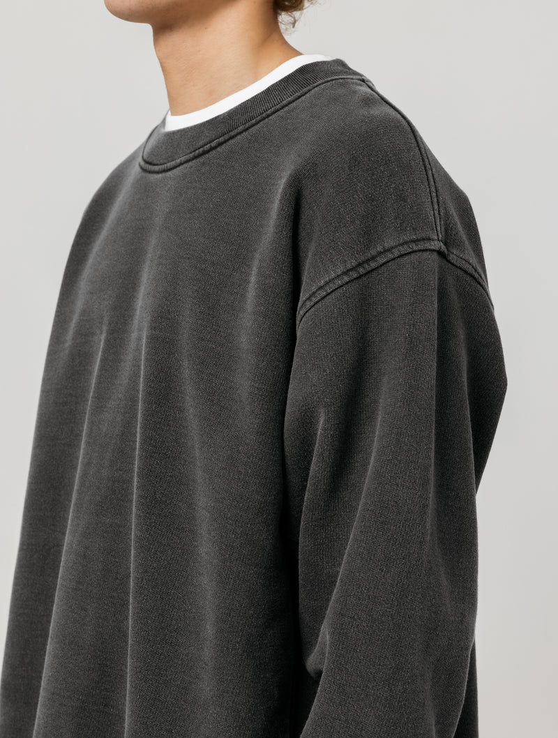 OVERSIZED HEAVY CREWNECK - WASHED BLACK