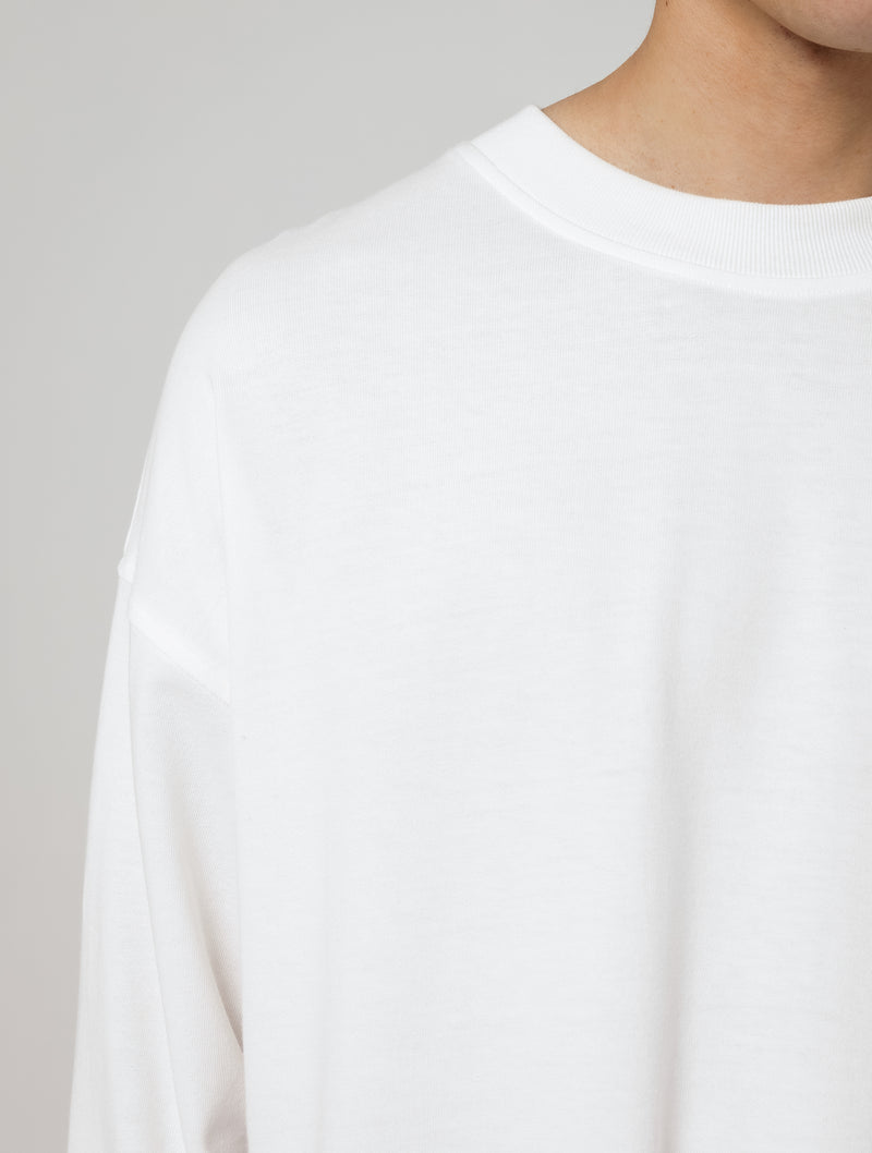 LONG SLEEVE SCALLOP T-SHIRT - WHITE