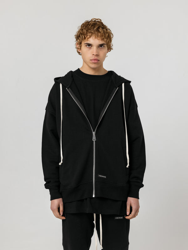 HEAVY ZIP UP HOODIE - BLACK