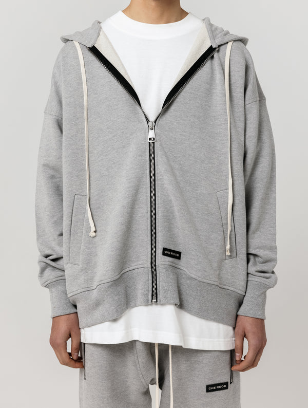 HEAVY ZIP UP HOODIE - GREY
