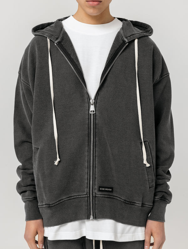 HEAVY ZIP UP HOODIE - WASHED BLACK