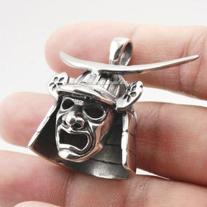 Japanese Samurai Armor Face Mark Pendant Stainless Steel Men's Steel Necklace 24inch