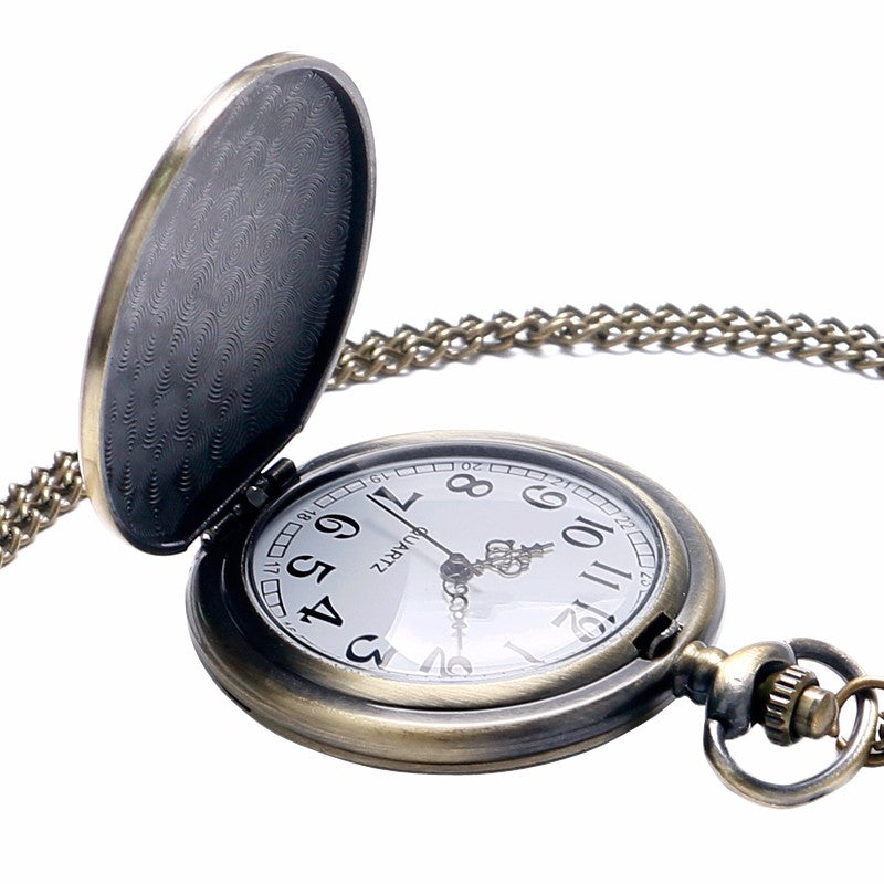 Retro Bronze Free Masons All-seeing Eye Quartz Pocket Watch With Chain