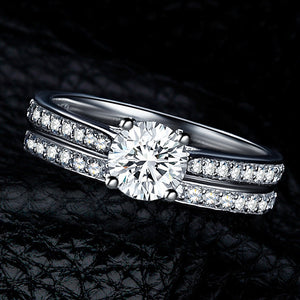 Charm Silver Rings For Women Bijoux Crystal Engagement Wedding Jewelry