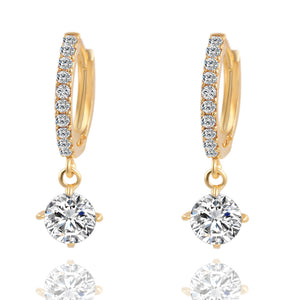 Charm Brincos Geometric Round Zircon Crystal Stud Gold/Silver Earrings
