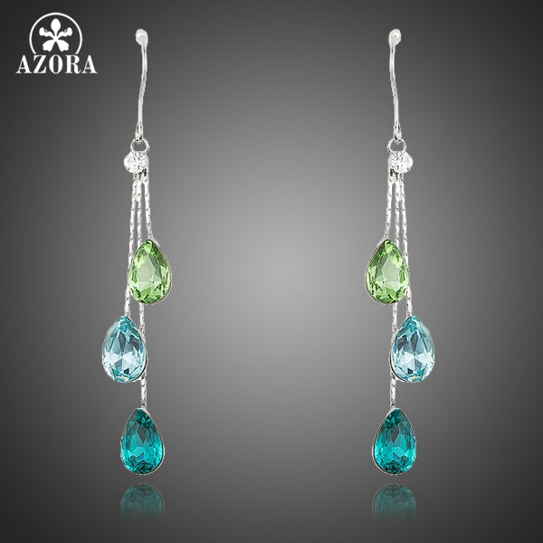 Elegant Charm Earrings for Women With 3pcs Water Drop Stellux Austrian Crystal Dangle