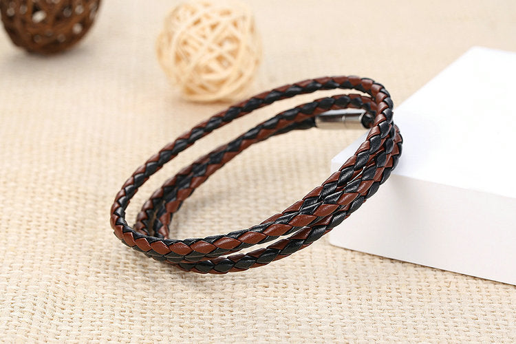 Men Leather Bracelet with Magnet Clasp
