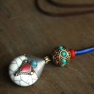 Chinese Style Ethnic Nepalese Droplets Pendant Necklace