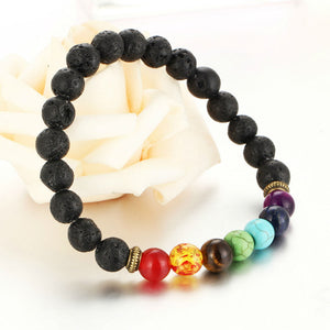 Colorful Beaded Chakra Bracelet with Natural Lava Stone Beads