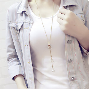 Tassel Sweater Long Gold/Silver Color Pendant Necklace