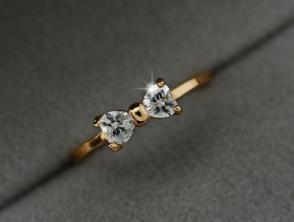 Austria Zircon Crystal Gold Color Bow Ring