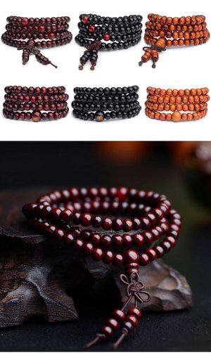 Vintage 6mm 108 Beads Natural Sandalwood Wood Meditation Bracelet