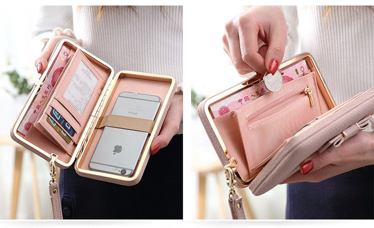 PU Leather Women Purse Bow Wallet With Cardholder and Cellphone Pocket