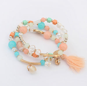 Bohemian Multilayer Beautiful Color Beads Tassels Bracelet