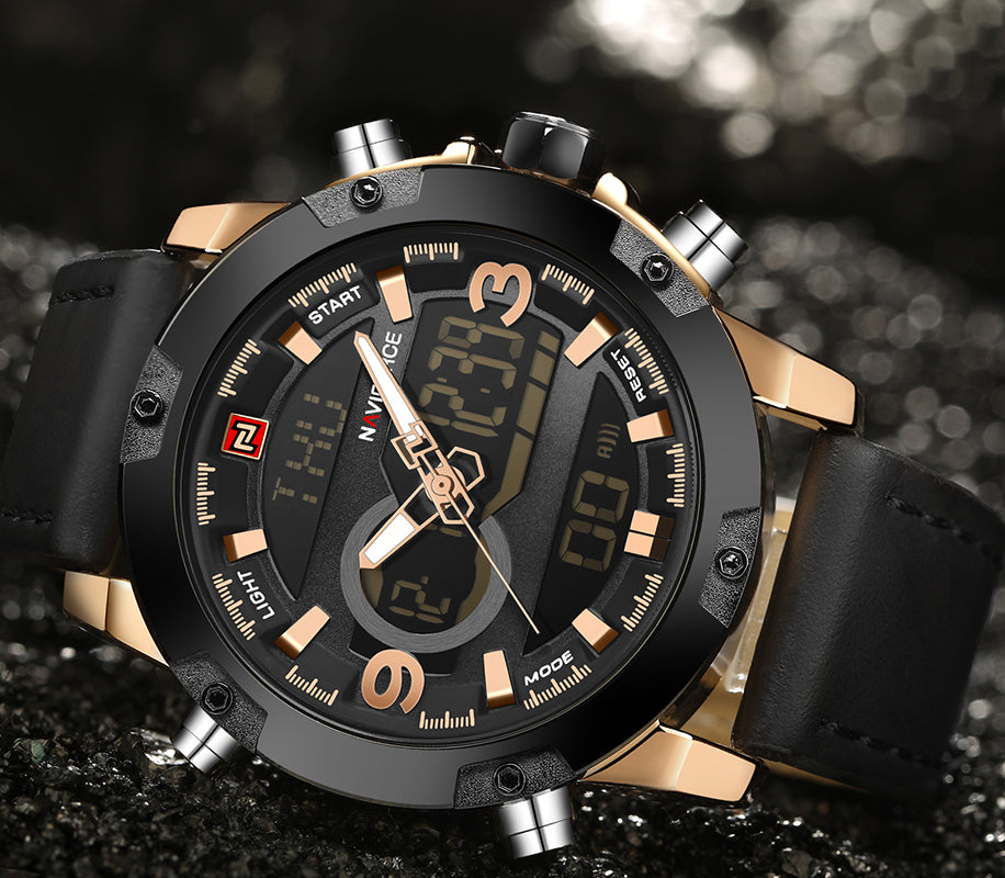 Luxury Analog Digital Leather Sports/Military Men Quartz Watch