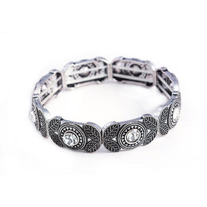 Women Vintage Charm Beaded Stretch Bracelet