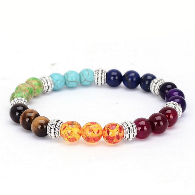 New Bangle 7 Colors Mixed Healing Crystals Stone Chakra Pray Mala Bracelet