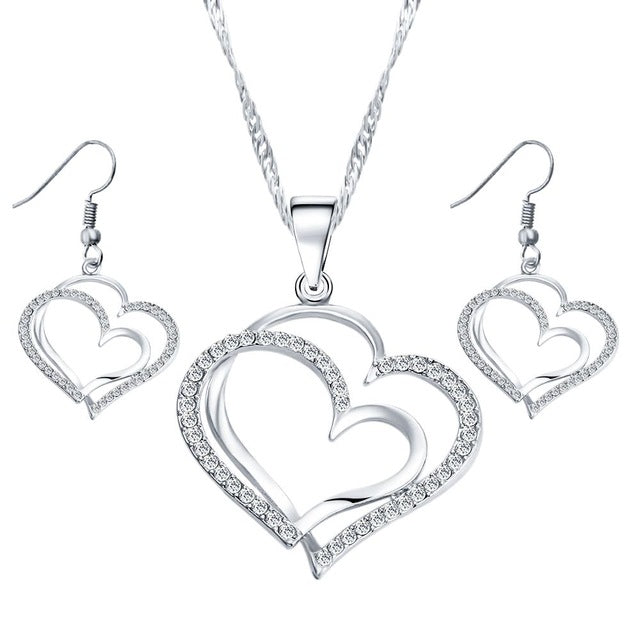 Heart Pattern Crystal Silver/Gold Color Earrings Necklace Set