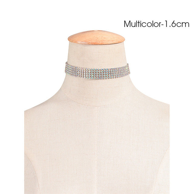 Crystal Rhinestone Choker Silver Chain Necklace