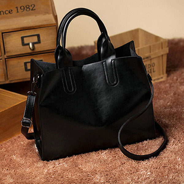 Big Women PU Leather Crossbody Trunk Tote Designer Shoulder Bag