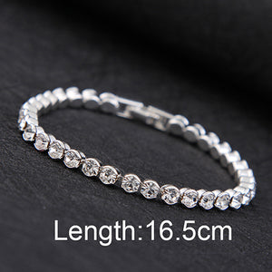 New Design High quality Silver Plated Fashion charm Shiny Austria Crystal Bracelet