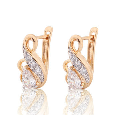 Small Hoop Silver/Gold-3 Color White Crystal CZ Earrings