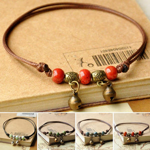 Tibetan Women Sliver Plated Beads Elephant Pendant Rope Anklet Foot Chain