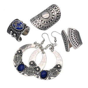 New Vintage Metal with Blue Synthetic Stone Ring Earring Jewelry Set