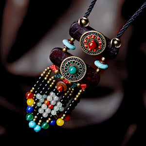 Color Stone Black Beads Ethnic Bohemian Necklace