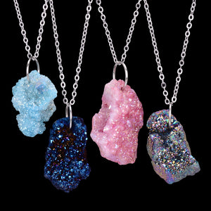 Irregular Natural Stone Quartz Crystal Pendant Necklace Silver Color Chain Necklace