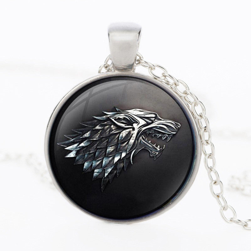 3 Color Game of Thrones House of Stark Black Wolf Necklace Pendant