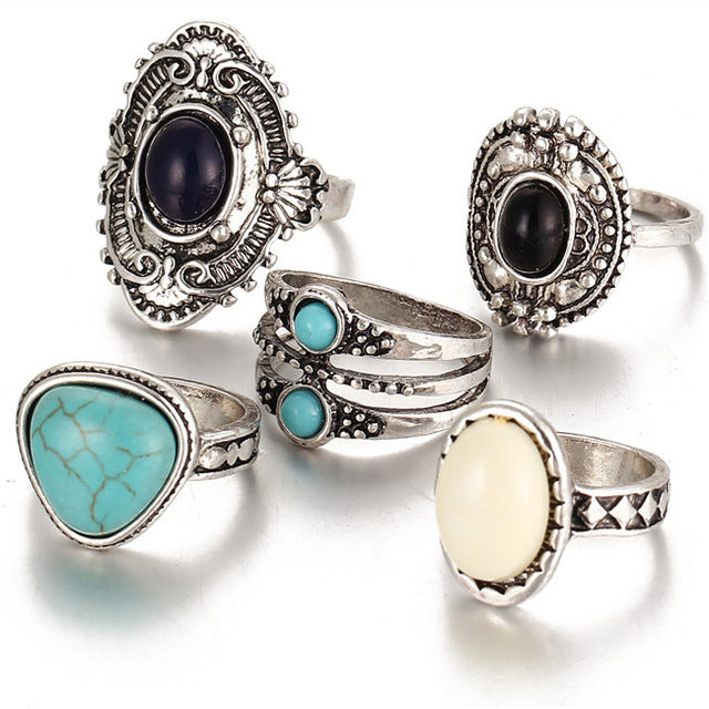 5 Pcs/Set  Vintage Antique Silver Color Bohemian Midi Ring Set