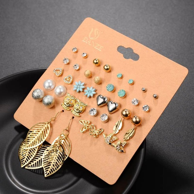 20 Trendy Pairs Pack Set Brincos Mixed Stud Earings