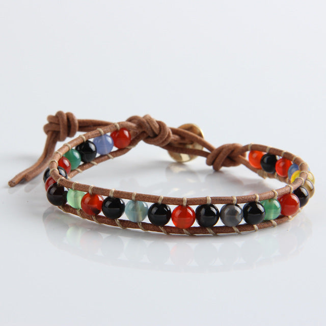 Natural Stone Bead Leather Bracelet for Men and Women