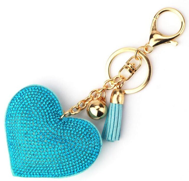 15 Colors Fashion Car Play Full Crystal Rhinestone Heart Bag Keychain