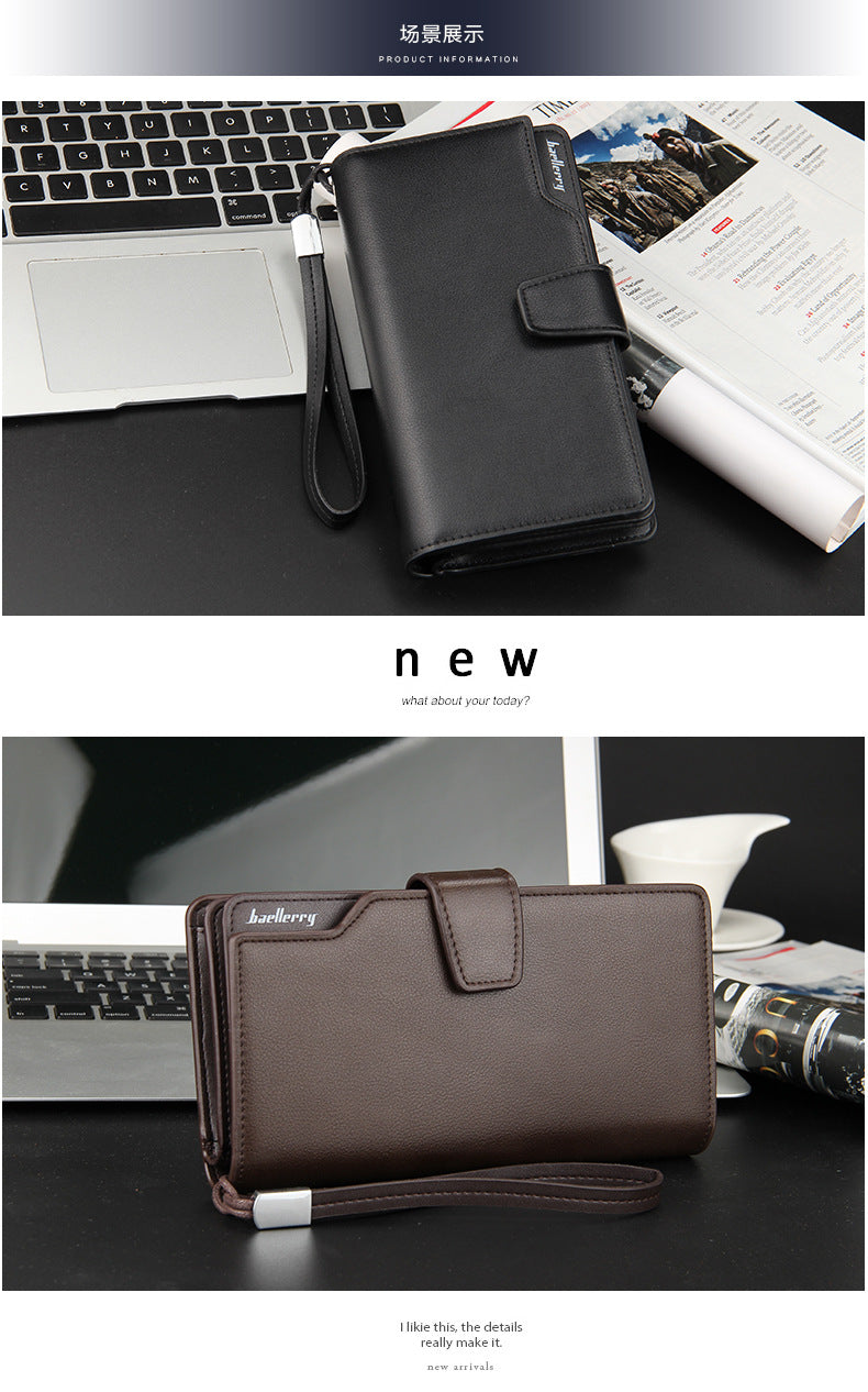 Men Cardholder Leather Long Wallet