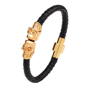 Hot Selling Genuine Leather Men Skull Bracelet