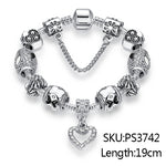 925 Silver Luxury Women Crystal Charm Bracelet