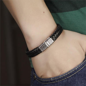 Luxury Black Braided Genuine Leather Stainless Steel Bangle For Men